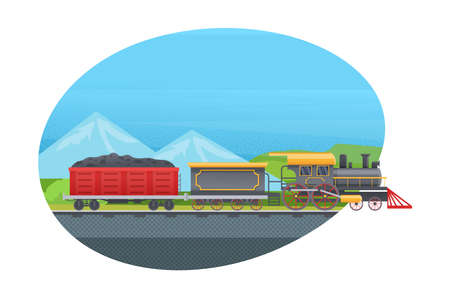 Retro freight train with wagons, tanks with coal. Railway transport locomotive against the backdrop of mountain landscape vector illustration