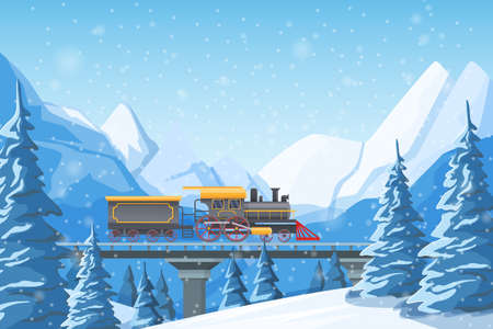 Retro train traveling by rail, on a bridge, among mountains, snow-covered hills, winter forest pines and hills. Winter fir trees in snow among snow-capped mountains landscape illustration vector