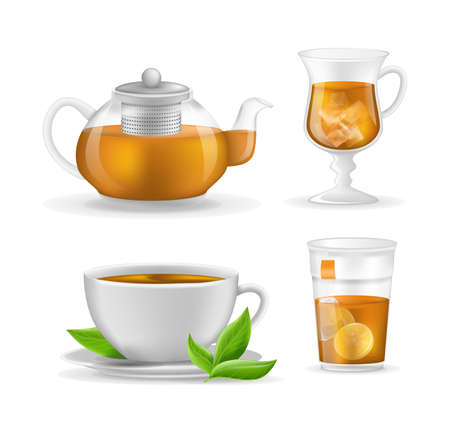 Realistic glass custard transparent teapot with hot fresh black tea, plastic glass and ceramic cup, mug of tea with sugar, infusion in transparent glass teapot vector illustration