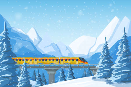 High-speed train traveling by rail, on a bridge, among mountains, snow-covered hills, winter forest pines and hills. Winter fir trees in snow among snow-capped mountains landscape illustration vector