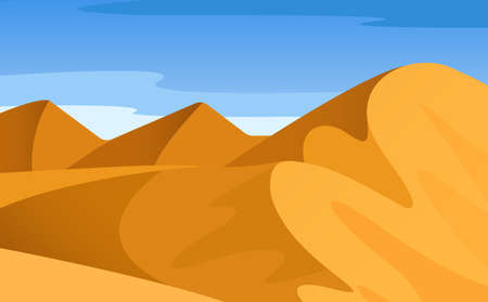 Vector cartoon bright landscape, view of desert with mountains, hills, loose sand, endless expanses, huge sky with clouds. Abstract gradient landscape summer background. Bright landscape wild nature.