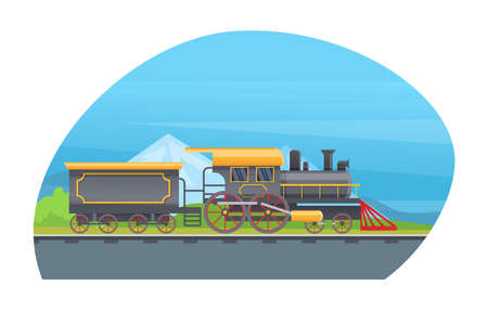 Retro freight train with wagons, tanks. Railway transport locomotive against the backdrop of mountain landscape vector illustration