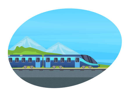 Railway locomotive modern train with wagon, subway metro, railway vehicle vector isolated. Railroad passenger transport. Illusztráció