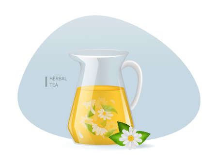 Realistic glass decanter with of chamomile custard tea with chamomile leaves and flowers infographic on a light background vector illustration