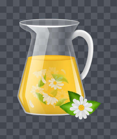 Realistic glass decanter with of chamomile custard tea with chamomile leaves and flowers infographic on a dark transparent background vector illustration 矢量图像