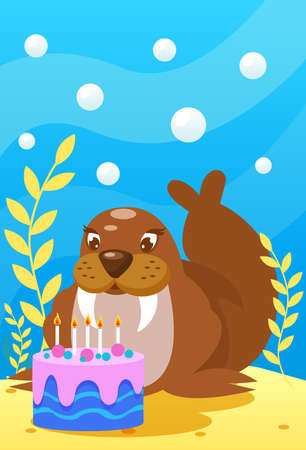Cute smiling animals and underwater world. Cute walrus blows candles on cake. Undersea world animals, algae and water bubble cartoon vector illustration.