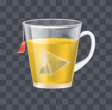 Realistic glass transparent cup with hot fresh black tea in pyramidal tea bag on a dark transparent background vector illustration
