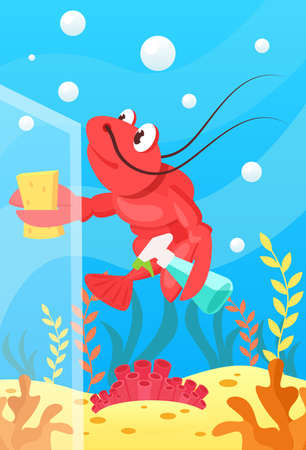 Cute smiling animals and underwater world. Cute lobster polishes glass with sponge and cleaning agent. Undersea world animals, algae and water bubble cartoon vector illustration.