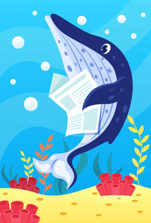 Cute smiling animals and underwater world. Cute blue whale reads newspaper. Undersea world animals, algae and water bubble cartoon vector illustration.