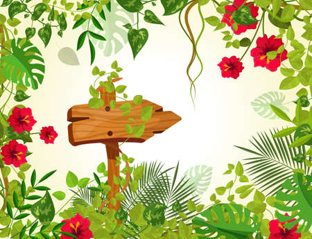 Summer tropical background with jungle plants. Liana branches frames, rainforest tropical leaves flowers. Retro wooden sign boardswooden arrow with chains ropes cartoon vector