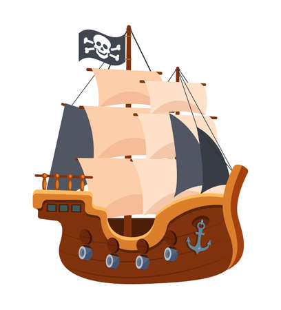 Pirate ship with black sails and flag. Adventure, journey in sea on equipment wooden boat, filibuster bounty corsair. Pirate sea ship on water. Cartoon vector illustration.