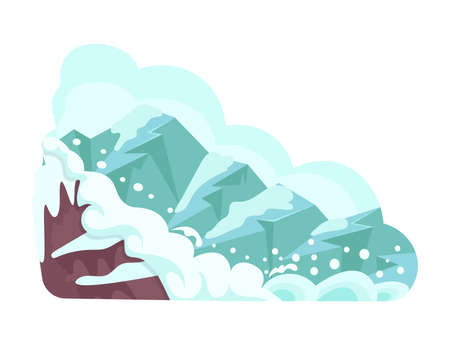 Natural disasters snow avalanches in the mountains. Cataclysm, catastrophe, destruction of nature cartoon vector illustration