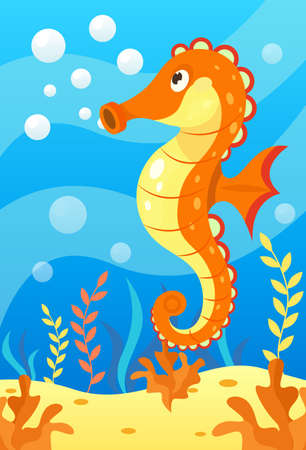 Cute smiling animals and underwater world. Cute seahorse blows soap bubbles. Undersea world animals, algae and water bubble cartoon vector illustration.