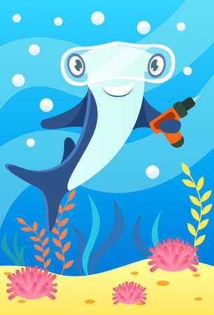 Cute smiling animals and underwater world. Cute hammerhead shark with glasses and with drill in fins. Undersea world animals, algae and water bubble cartoon vector illustration.
