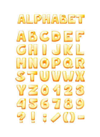 Comic game font cartoon bubble lettering, fonts. Colorful lowercase letters of an alphabet with glint. Bright letters for typography inscriptions, numbers, signs for kids vector illustration  イラスト・ベクター素材