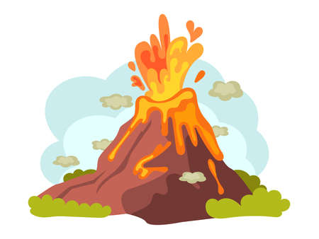Natural disasters volcanic eruptions. Wild landscape volcanic eruption with flowing burning lava down. Cataclysm, catastrophe, destruction of nature cartoon vector illustration