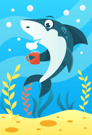 Cute smiling animals and underwater world. Cute shark holds mug of coffee and blows, cooling the coffee. Undersea world animals, algae and water bubble cartoon vector illustration.