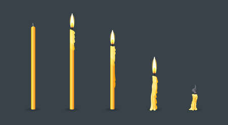 Burning candles flame set. Cartoon burning church wax candles on the different stages of burning from a whole before an extinguished candle to cinder vector illustration 矢量图像