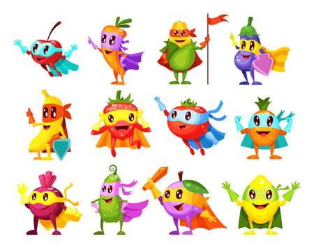 Super hero fruits, vegetables. Characters in different poses in costume at masks. Vegetable character superhero lemon, pineapple, strawberry, cherry, banana, carrot, eggplant, corn, beet, plum vector 矢量图像