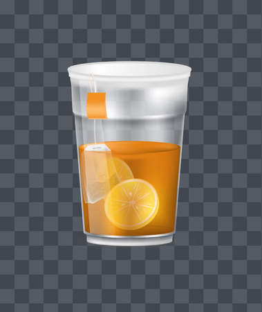 Realistic plastic transparent cup with hot fresh black tea with pyramidal tea bag and lemonon a dark transparent background vector illustration