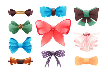Fashion colorful tie bow accessories cartoon with tied ribbons for Christmas invitation. Color silk bow for lady and gentleman for gift birthday, holiday, theater, circus set vector illustration  イラスト・ベクター素材