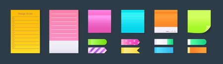 Sticky notebook paper. Set colorful memo, blank torn pages sheets, sticky pieces of ripped paper. Adhesive stickers and sheets with grid squares and lines. Vector empty ripped pages for write notes.
