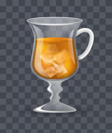 Realistic glass transparent mug of iced ice tea on a dark transparent background vector illustration 矢量图像