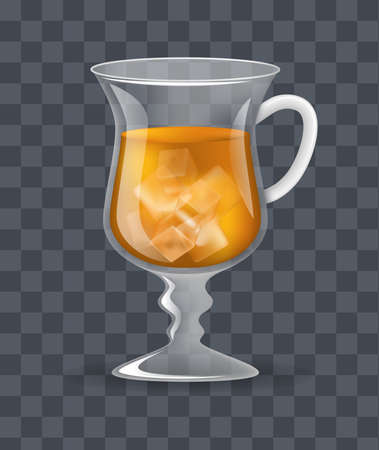 Realistic glass transparent mug of iced ice tea on a dark transparent background vector illustration Illustration