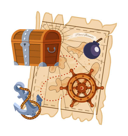 Pirate adventure map, wooden treasure chest, ship wheel, boat anchor. Adventure to islands, equipment for journey in sea on boat, filibuster bounty corsair. Cartoon vector illustration. 向量圖像