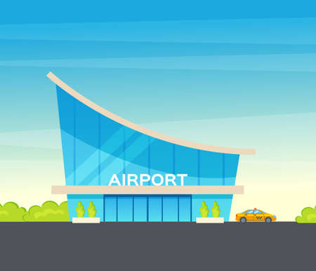 Airport terminal building and airplanes, taxi, car, loader. Airplane on the runway an forests and trees background. Modern architecture building airport. Public transport, taxi cars vector illustration
