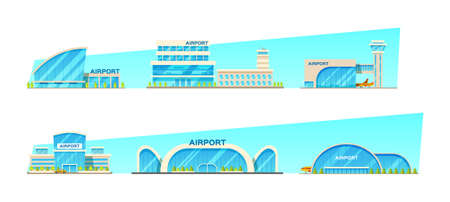 Airport building and airplanes, taxi, car, loader. Airplane on the runway. Modern architecture building airports set. Public transport bus, taxi cars vector illustration