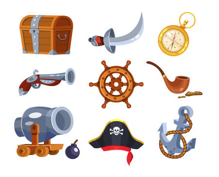 Adventure pirate set. Pirate ship equipment, treasure box, weapon, parrot, compass, hat, treasure chest, pipe with tobacco, hat, flag, pistol, steering wheel, anchor. Symbols of sea adventure vector 向量圖像