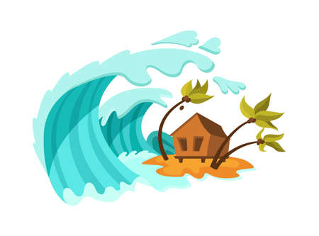 Natural disasters Tsunami. Natural strong disaster with rain, tsunami water waves covering the house. Cataclysm, catastrophe, destruction of nature and environmental damage cartoon vector illustration