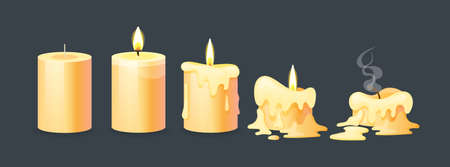 Burning candles flame set. Cartoon burning yellow wax candles on the different stages of burning from a whole before an extinguished candle to cinder vector illustration Vector Illustration