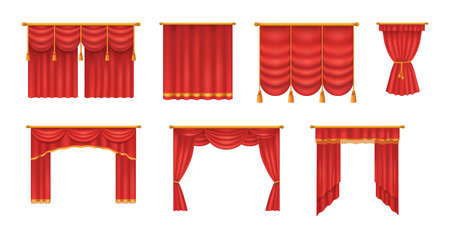 Realistic red theater curtains. Red silk velvet curtains and draperies design interior, theater stage decoration, wedding salon, cinema, hall opera. Luxury fabric texture isolated vector illustration Stock Illustratie