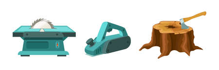 Wood industry material tools planer, sawing machine and tree stump with ax. Logs, boards for the forest lumber industry and farming set cartoon vector illustration Stock Illustratie