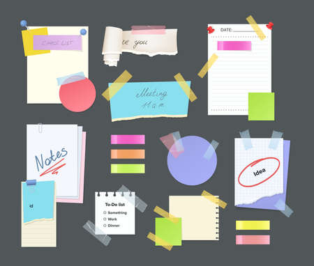 Paper notes on stickers, reminders notepads, memo messages torn paper sheets attached with transparent tape. Office torn pieces for write short notes, messages of meeting reminder, to-do list vector