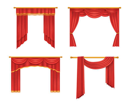 Realistic red theater curtains. Red silk velvet curtains and draperies design interior, theater stage decoration, wedding salon, cinema, hall opera. Luxury fabric texture isolated vector illustration