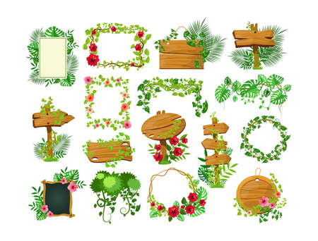 Liana branches frames. Rainforest leaves and tropical liana. Game elements plants of jungle and frames with space for text. Jungle cartoon games plank liana isolated vector. Branches and wooden boards Vecteurs