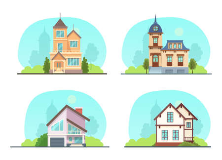 Set colorful country town houses with roof, suburban cottages, guest house, mansion, townhouse, house brick, buildings. Facade apartment house. Real Estate vector illustration isolated.