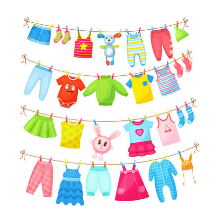 Baby clothes hanging on clothesline. Drying children's clothes and accessories after washing on rope. Shorts, socks, romper, sweater, hat, toys, T-shirt, sarafans, dress, skirts, blouse cartoon vector Vecteurs