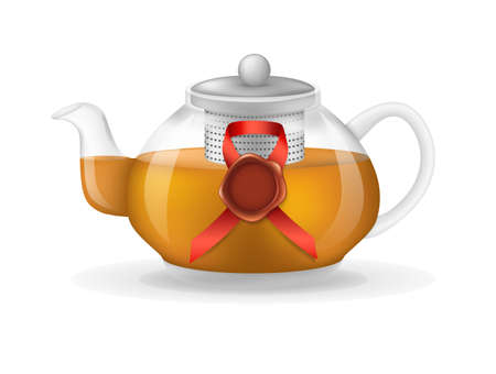 Realistic glass custard transparent teapot with hot fresh black tea and vintage red seal wax stamp infographic on a light background. Teapot with lid and tea leaves compartment vector illustration