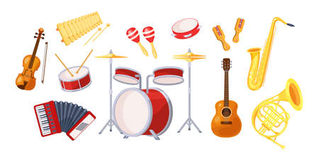 Set various musical metal wood acoustic instruments: violin, tambourine, harp, trombone, bagpipe, saxophone, accordion, guitar, drum, tambourine, synthesizer, bagpipes, maracas, rumba cartoon vector