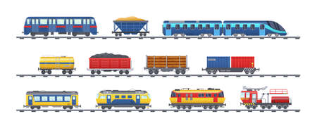 Set of freight train with wagons, tanks, freight, cisterns. Railway locomotive train with oil wagon, transportation cargo, railway transport locomotive, subway metro vector isolated