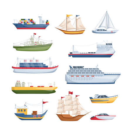 Maritime ships at sea, shipping boats, sailboat, yacht sailing, cargo cruise ship, steamship, vessel, frigate with sails, battleship, tanker. Water transportation boat tourism transport cartoon vector