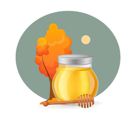 Autumn honey product. Glass transparent jar with full of honey and wooden spoon dipper infographic on a light background vector illustration