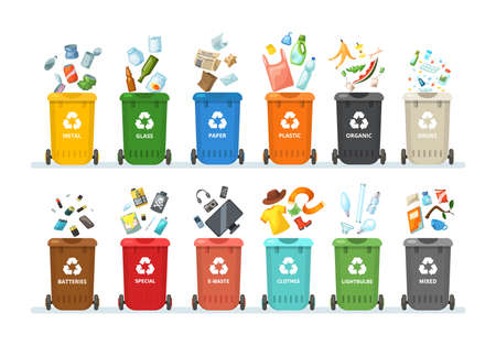Trash in garbage cans with sorted garbage for organic, paper, plastic, glass, metal, tablets, batteries. Separation of garbage into different containers. Recycling sorting, waste collection vector Vektorové ilustrace