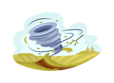 Natural disasters Tornadoes. Whirlwind of tornado over lawn, destroys folds lawn and raises funnel of dust and earth. Hurricane storm in countryside landscape, cataclysm, catastrophe vector