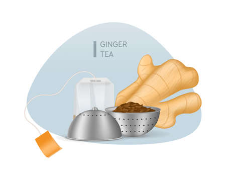 Realistic black tea in choux strainer, ginger root, teabag tea with orange label vector illustration