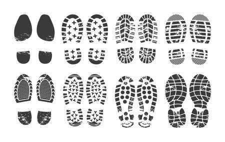 Human footprint. Footwear steps silhouette, shoes, boots, sneakers footstep print of men and women, textured steps. Dirty shoes print, shoes footprints on asphalt and ground, step silhouette vector.